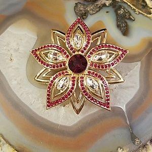 Christmas star & red flower golden brooch GUC
